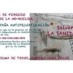 Colabora con el Dia No Huelga. En contra de la privatización sanitaria