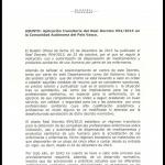 La Consejeria de sanidad del gobierno vasco Sí informa por escrito a sus empleados sanitarios el modo de actuar ante el Real Decreto de Prescripción enfermera 954/2015