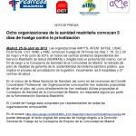 OCHO ORGANIZACIONES CONVOCAN LA HUELGA DE LA SANIDAD MADRILEÑA