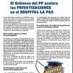 Boletín de privatizaciones en el Hospital Universitario La Paz. Por el sindicato MATS.