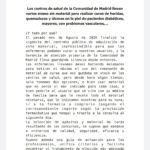 Las enfermeras de AME que los centros de salud de la Comunidad de Madrid llevan varios meses sin material para realizar curas.